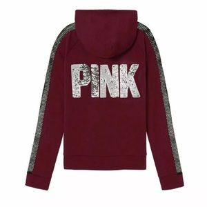 VS PINK BLING Perfect Full Zip Hoodie Dark RUBY L